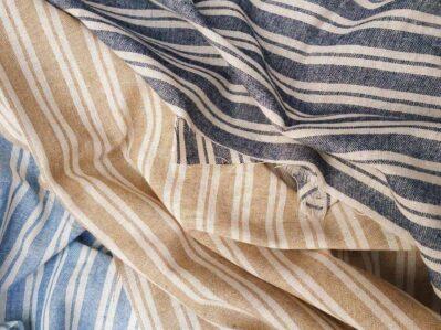 Ткань лен полоска двойная классическая купить в Украине недорого