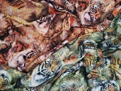 Ткань Штапель Тигровый принт купить оптом и в розницу недорого