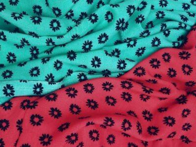 Ткань Штапель ромашки малина и бирюза купить оптом и в розницу в Украине