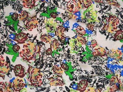 Ткань Штапель цветы пиксель купить оптом и в розницу в Украине