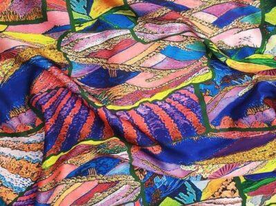 Ткань шелк армани узоры сиреневые купить оптом и в розницу в Украине