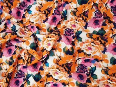 Ткань суперсофт цветочный принт оранжевый купить оптом и в розницу в Украине