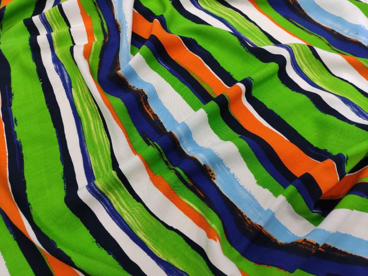 Штапель Digital-принт Цветная Полоска Зеленый