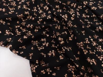Штапель Мелкий принт Цветы на черном фоне Оранжевые