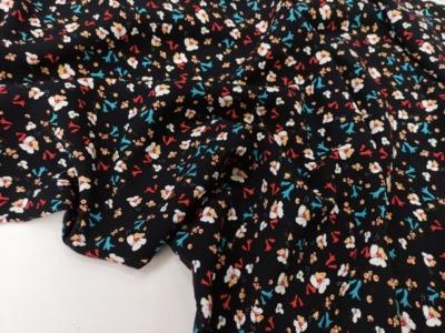 Штапель Мелкий принт Цветы на черном фоне Яркие