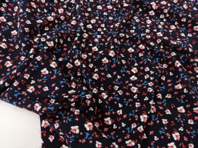Штапель Мелкий принт Цветы на темно-синем фоне Яркие